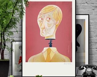 Men. Original illustration art poster giclée print signed by Paweł Jońca.