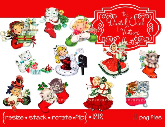 Digital Clipart Instant Download Vintage Christmas Images Little Girls Kitten Kitty Cat Cats Stocking Printable PNG Files 1212 From