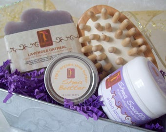 Lavender Oatmeal Silk Spa Massage Gift Basket Tin with Lavender Oatmeal organic soap, Organic Lavender whipped body butter, and shea butter