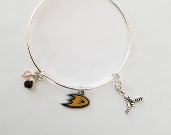 Anaheim Ducks hockey team silver plated bangle bracelet