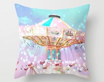 Carnival Pillows, Ferris Wheel Pillows, Kid's Room Decor, Baby Girl Nursery Pillows, Decorative Throw Pillows, Carnival Nursery Room Pillows