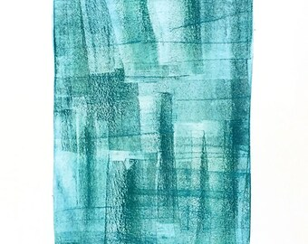 Blue Mood #1, Original Monotype by Rhonda Lynch