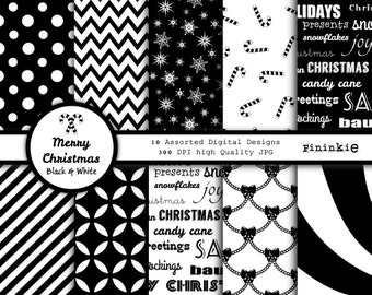 Black and White Christmas Digital Paper - Christmas Scrapbooking Paper Black and White Chevron - Digital Download - Xmas Digital Paper