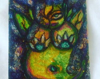 Reserved For Heather Green Alien Goddess Acrylic Paint Colored Pencil ATC