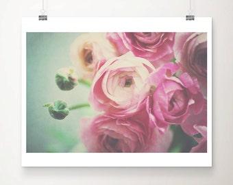 pink ranunculus photograph pink flower photograph pink ranunculus print pink flower print bouquet photograph nursery wall art