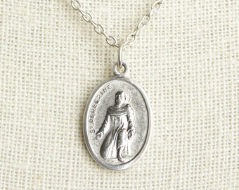 Saint Peregrine Medal Necklace. St Peregrine Necklace. Catholic Necklace. Patron Saint Necklace. Saint Medal Necklace. Catholic Jewelry.