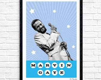 Marvin Gaye - Superstar, Soul Singer, Music Print, Legend, Music Gift, Music Typography, Poster Design, A4, A3.