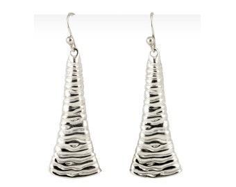 Shiny Dangle Earrings, Liquid Silver Earrings, Liquid Metal Jewelry,  Sterling Silver