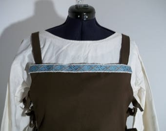 Viking apron with hand made lace dress