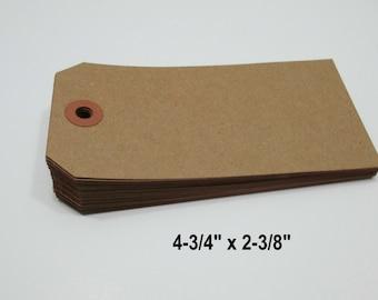 "KRAFT Paper Tags, Kraft Luggage Style Paper Tags, Kraft Gift Tag, Kraft Parcel Tag, Kraft Wish Tags, Blank Tags, 4 3/4"" x 2 3/8"" -  50 Tags"