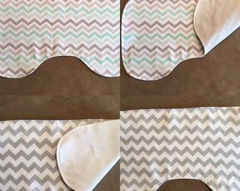 Chevron - Baby and toddler item - Burp cloth -  Flannel burp cloth - countoured burp cloth