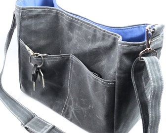 Grey Bucket Bag,  Waxed Canvas Vegan Leather Crossbody,  Messenger, Unisex Bag, Gift, Margeaux  by WhiteCross Designs, Made to Order