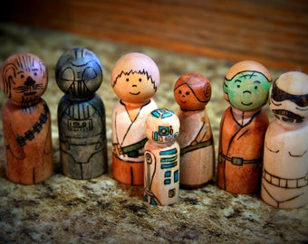 2 Star Wars Peg Doll sets- made to order
