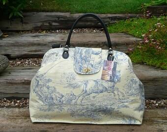 Weekender Bag, large Carpet Bag, Mary Poppins Bag, Carpet Bag, Overnight bag, luggage and travel, Blue & Cream Toile De Jouy Print Cotton