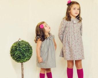 Girls dress,Girl gray print dress, Dress for all seasons, Handmade childrens clothing,Girls Cotton Dress, Cotton Dress in Gray and Purple