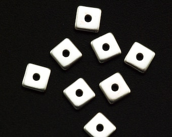 4 Sterling Silver Flat Square Beads - 4mm