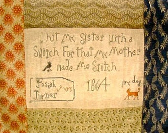 Josiah Turner's Sampler from Notforgotten Farm ~ cross stitch PATTERN
