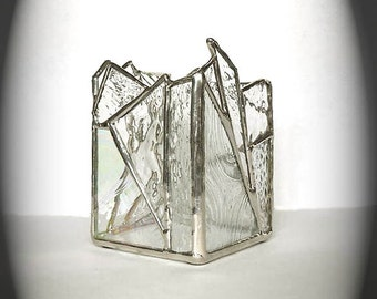 Clear Stained Glass Candle Holder