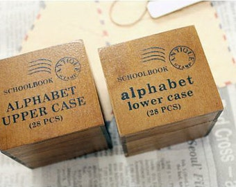 Vintage Alphabet Stamp Set -- Wooden Rubber Stamp Set -- Rubber Stamps -- Lowercase plus Capital