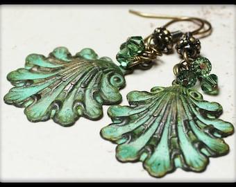 Santorini... Handmade Jewelry Earrings Beaded Seashell Shell Beach Patina Metal Crystal Verdigris Green Antique Brass Dangle Lightweight