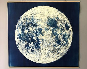 Large Linen Mounted Lunar Map Cyanotype Ready to Hang Signed