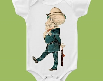 Skeleton Policeman, Vintage Skeleton, Cop TShirt, Cool kids tees, graphic tshirt, One Piece Baby Exclusive by ChiTownBoutique.etsy
