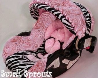 Custom 3D Roses with zebra minky Infant Car Seat Cover 5 Piece set