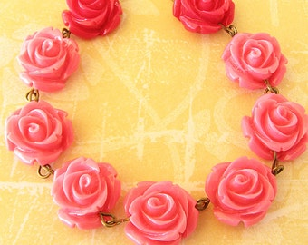 Rose Necklace Beaded Necklace Resin Flower Necklace Pink Jewelry Rose Jewelry Pink Necklace Gift For Her