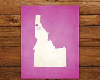 Customized Printable Idaho State Map - DIGITAL FILE, Aged-Look Personalized Wall Art