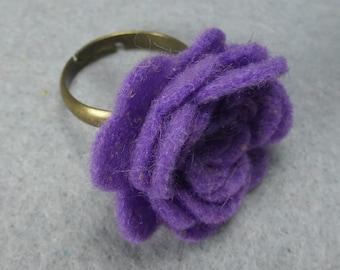 Purple Flower Ring - Purple Rose Ring -Felt Flower -Felt Ring -Adjustable Ring -Artificial Flower -Fake Flower -Flower Jewelry -Felt Jewelry