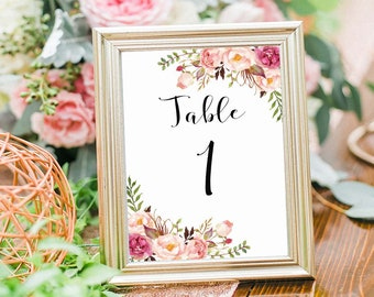 Wedding Table Numbers 1-5 Printable, 5X7 Table Numbers Wedding, Instant Download, Table Numbers, Printable Table Numbers, Vintage, B120