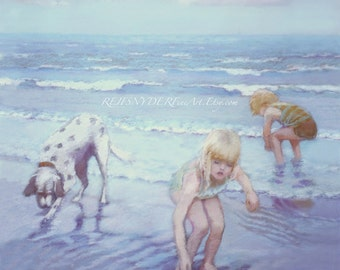 Two Blonde Children, Beach print, seashore scene, boy and girl, dog, playing, blue, seaside art, figures, ocean surf, kids, water, dalmation