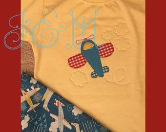 4x4 Airplane Vintage Style Applique Embroidery Design