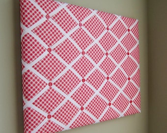 16x20 Memory Board, Bow Holder, Bow Board, Vision Board, Photograph Holder, Ribbon Board, Red & White Check Bias