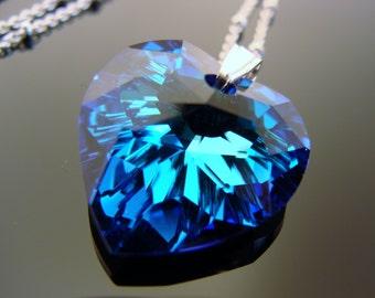 Swarovski Crystal Bermuda Blue Heart Sterling Silver Necklace