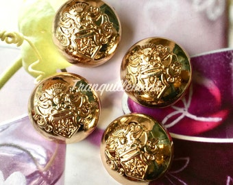 4 Large Retro Vintage Style Gold Golden Crown Wedding Military Jacket Coat Sweater Metal Button 1 Inch / 2.5 cm