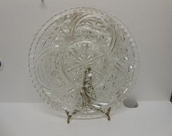 """Vintage Crystal 12.5"""" Round Serving Platter Stars and Ribbons Pattern"""