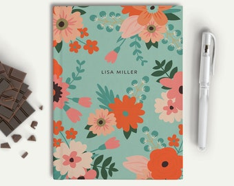 Custom Name Journal, Customized Journal, Personalized Writing Book, Personal Stationery, Custom Notebook, Flower Hardcover Journal, 18044J