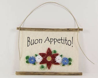 Buon Appetito, Paper Quilled Italian Kitchen Sign, 3D Paper Quilled Banner, Red White Blue Decor, Italy Gift, Have a Good Meal Art