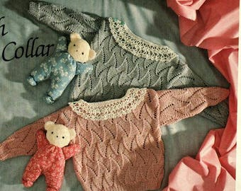 Two designs Babies Lacey Jumper Knitting Pattern pdf, size 6 to 9 months