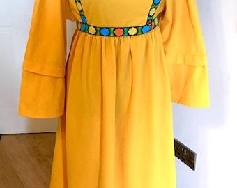 Woodstock hippy maxi dress yellow boho enbroidered