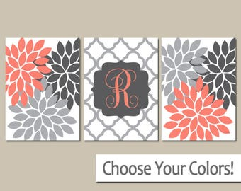 Coral Gray Flower Wall Art, Monogram Family Name, Baby Girl Nursery Decor, Girl Bedroom Wall Decor, CANVAS or Prints, Set of 3 Above Crib