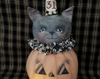 Primitive Pumpkin|Folk Art Pumpkin|Primitive Cat|Folk Art Cat|Primitive Fall|Primitive Halloween|Handmade Fall|Jack O Lantern|