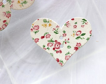 wood button floral heart