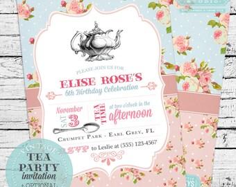 Vintage Tea Party Birthday Invitation
