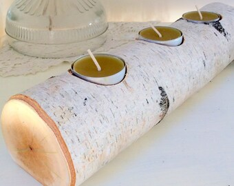 Birch Rustic Tea Light Candle Holder Log Style