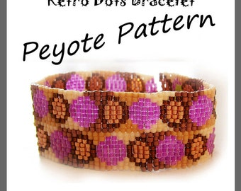 Retro Dots Peyote Pattern Bracelet - For Personal Use Only PDF Tutorial, circle bracelet , dots bracelet, moons bracelet, 3 drop bracelet