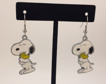 Snoopy and Woodstock Earrings - Available with Clip on Backs or Ear Wires