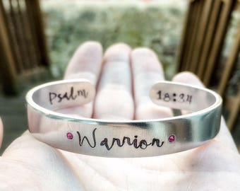 Warrior Collection - fearfully & wonderfully made - joshua 1:9 - hand stamped silver cuff bracelets - Christian jewelry - faith bracelet