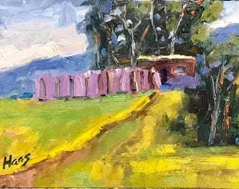 California Plein Air Landscape Oil Painting Original Art San Francisco Bay Area California Artist USA Made Artwork Love Shack Mustard Grass